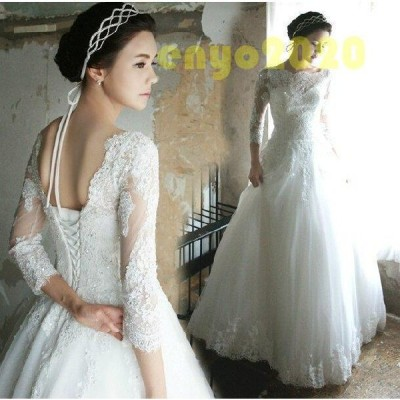 ウェディングドレス 結婚式 花嫁 二次会 パーティードレス  Aライン ウエディングドレス  ブライダル レース 長袖 ホワイト