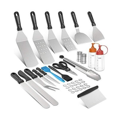 Morole Spatula Set Griddle Accessories BBQ Tool kit 31pcs, Heavy Duty Stainless Steel Metal Spatula Perfect for Flat Top Grill Cooking Teppa