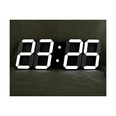 VANGOOD LED 壁掛け デジタル時計 - 3D 立体 wall ウォール clock リモコン付き USB電源 アダプタ付き (ブラック)