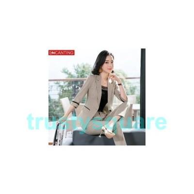 スーツレディースジャケットスラックス春¥/夏¥/秋1つボタン新作ベージュグレーファッションOLオフィスビジネス入園式卒業式