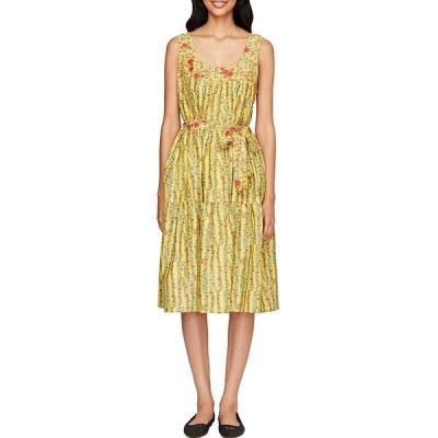 ローラー・ラビット レディース ワンピース トップス Rhody Striped Tie Waist Coley Dress Yellow