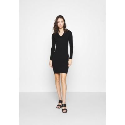 オブジェクト ワンピース レディース トップス OBJFAE THESS DRESS - Jumper dress - black