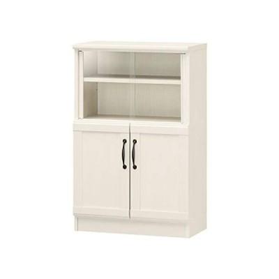 白井産業 ミニ 食器棚 カップボード ホワイト チェローネCEN-9055DGA 高さ約90cm (白木目 高さ約90cm)