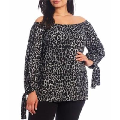 マイケルコース レディース カットソー トップス MICHAEL Michael Kors Plus Size Mega Cheetah Print Knit Jersey Off-The-Shoulder Tie