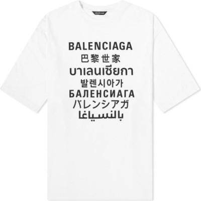 バレンシアガ Balenciaga メンズ Tシャツ トップス XL Fit Languages Tee White/Black