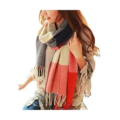 Wander Agio Women's Fashion Long Shawl Big Grid Winter Warm Lattice Large Scarf Orange Red Winter【並行輸入品】