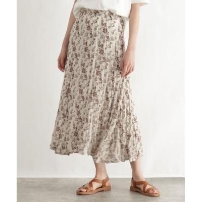 OZOC(オゾック) [洗える]イレギュラーヘム フラワーランダムプリーツスカート