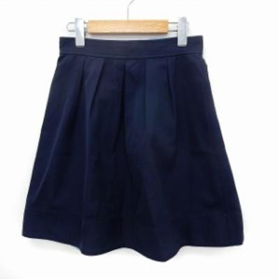 【中古】ストロベリーフィールズ STRAWBERRY-FIELDS スカート フレア 膝丈 バックジップ シンプル 1 ネイビー /ST41