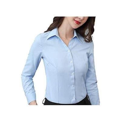 レディース ブラウス 長袖シャツ UVカット スリム 襟付き ビジネス シャツ ブラウスシャツ ワイシャツ スキッパーシャツ ビジネスブラウス Vネッ