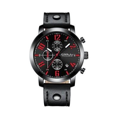 海外取寄品--メンズ腕時計クォーツアナログUniqueビジネス、カジュアルファッションデザイン、30?M防水、快適なバンド ブラック