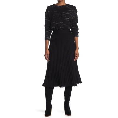 マックスタジオ レディース スカート ボトムス Midi Pleated Sweater Skirt BLACK
