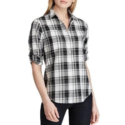 ラルフローレン レディース Tシャツ トップス Plaid Cotton Twill Button Front Roll-Tab Shirt Black Multi