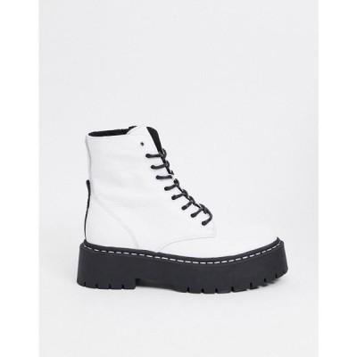 スティーブ マデン Steve Madden レディース ブーツ ショートブーツ レースアップブーツ Skylar chunky lace up ankle boot in white leather ホワイトレザー