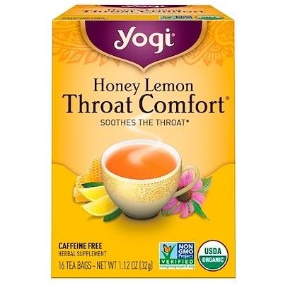 オーガニック, 快適な喉, ハチミツレモン, カフェインフリー, 16ティーバッグ, 1.12オンス(32 g)