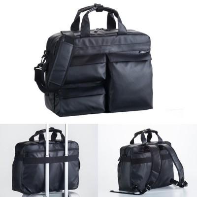 ビジネスバッグ 3way メンズ  ブリーフケース 仕事 出張 通勤 B4ファイルサイズ ハミルトン ダブルPUシリーズ 3way ブラック 26609  人気