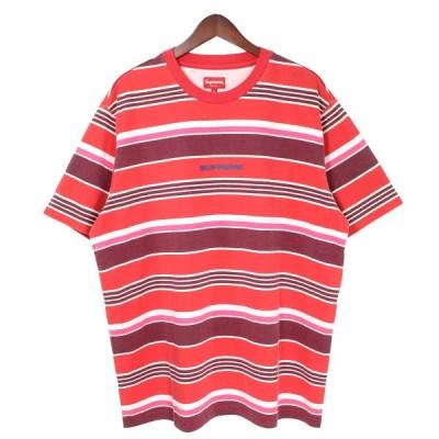 【1月18日値下】SUPREME 19AW Stripe S/S Top マルチボーダークルーネックロゴTシャツ レッド×ピンク サイズ:L (吉祥寺