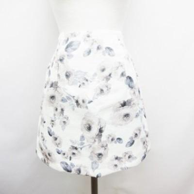 【中古】未使用品 ワンウェイ one way ゴムウエスト 花柄 ミニスカート フリーサイズ 白 ホワイト ピンク レディース