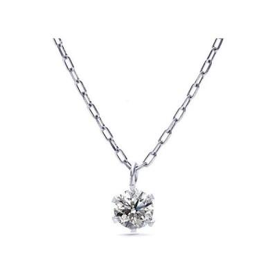 ネックレス レディース ダイヤモンド PLUSTER プラチナ 一粒 (天然ダイヤ 0.10ct) PT900 チェーン 40cm (シルバー)