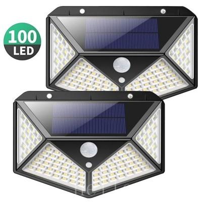 ソーラーライト屋外100LEDセンサーライト2個セット人感センサー4面発光ガーデンライト屋外照明夜間自動点灯自動消灯三つの知能モードIP65防水