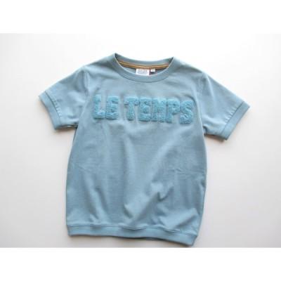 BLUEU AZUR 同色サガラTシャツ グレーブルー 110cm 120cm sale SALE セール バーゲン Tシャツ 半袖Tシャツ トップス ロゴT 子供服 2020SS