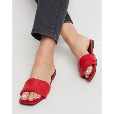 エイソス ASOS DESIGN レディース サンダル・ミュール フラット シューズ・靴 Forty Woven Flat Sandals In Red レッド