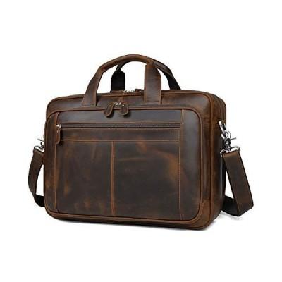 [新品]Augus Business Travel Briefcase Genuine Leather Duffel Bags for Men Laptop Bag fits 15.6 inches Laptop YKK Metal Zipper (Dark br