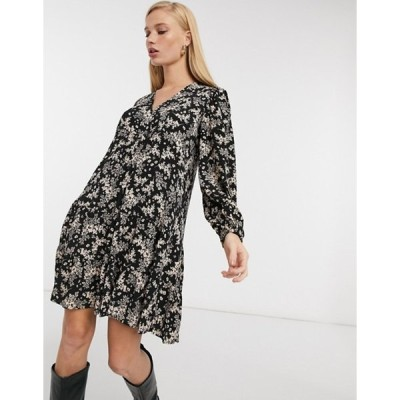マンゴ レディース ワンピース トップス Mango tiered mini smock dress in black floral print