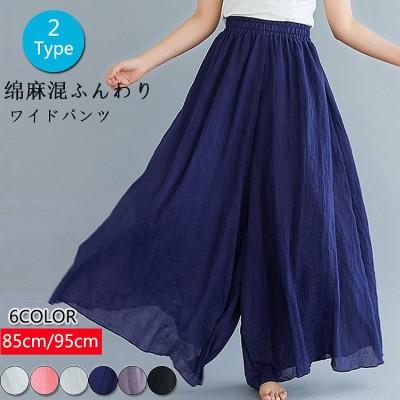 新作🌸シフォンフレアワイドパンツ リネン ロングパンツ ワイドパンツ 韓国ファッション