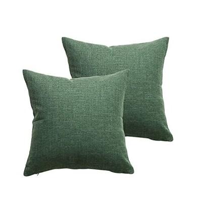 ELVEDO クッションカバー コットンリネンクッションカバー 45x45cm 無地装飾枕カバー 和風クッションカバー2枚 (