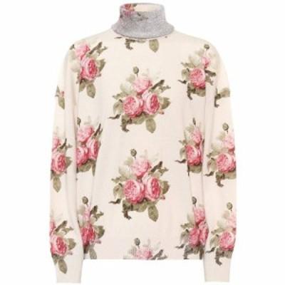 パコラバンヌ Paco Rabanne レディース ニット・セーター トップス Floral wool-blend turtleneck sweater Light Beige Bouquet