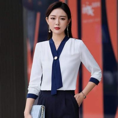 Vネック レディース シャツ 通勤シャツ シフォン シャツ 平常着 高品質 就活 制服 作業着 事務服 ホワイト/ブルー 七分袖シャツ ワイシャツ