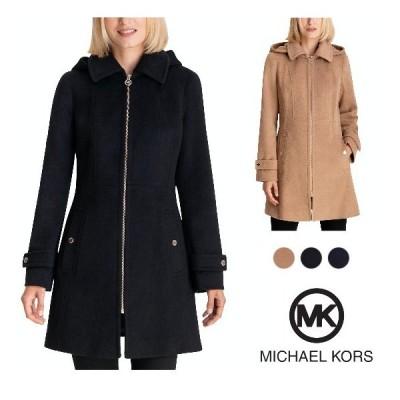 マイケルコース Michael Kors コート ウールコート フード付き ブラック キャメル ネイビー レディース 取り寄せ