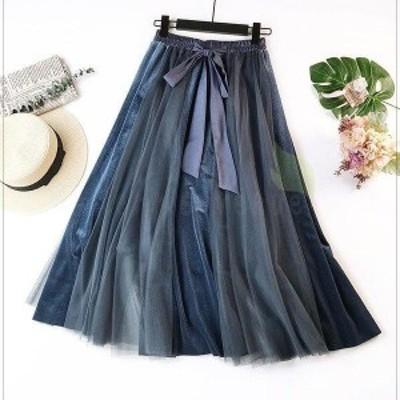 スカート レディース フレアスカート きれいめ フレア チュールスカート 切り替え チュール  ボトムス ロングスカート 配色 リボン