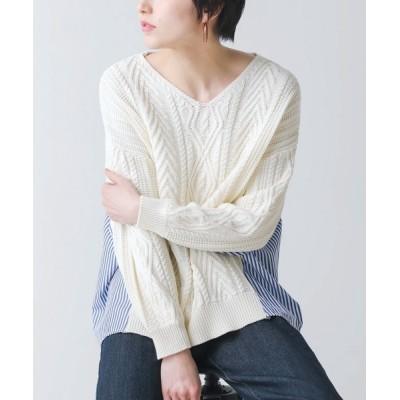 Bou Jeloud / Bab / ケーブルニットシャツ風プルオーバー【手洗い可能】 WOMEN トップス > ニット/セーター