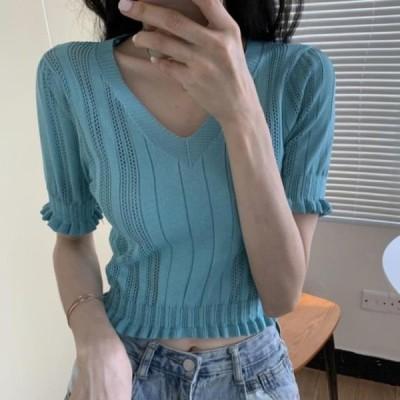 picknfit レディース ショートスリーブ Color punched shirred frill T-shirt