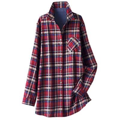 ベルーナ BELLUNA あったか裏フリースチェック柄ロングシャツ (赤系)