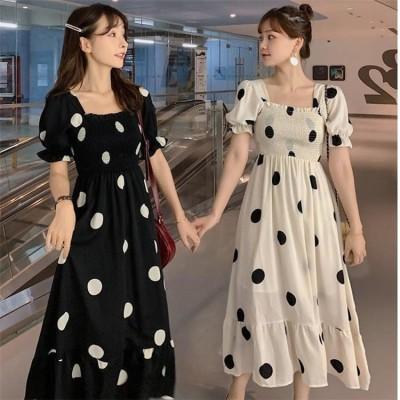 🎁女性の魅力を更に引き出🌸韓国ファッション 2021 夏 スリム 減齢 閨蜜の装い バンディング 半袖 ワンピース ドット 百掛け sweet系 エレガント おしゃれな お出かけ