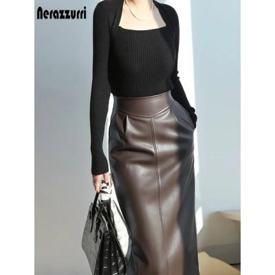 Nerazzurri春ミディレザースカート女性ブラウンホワイトブラックロングハイウエストペンシルスカート女性用2021サイドスリットジッパー7xl