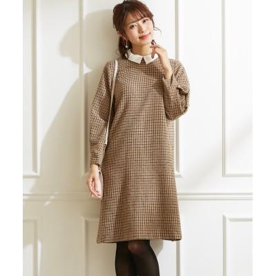 2WAYシャツ衿付起毛チェック素材ワンピース(ウール混素材) (ワンピース)Dress