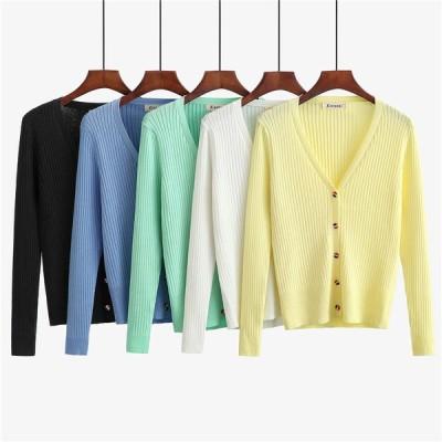 ニットカーディガン カーディガン 2021年 春夏新商品 ホワイト イエロー グリーン ブラック ブルー カラーボタン 薄手 シンプルシャツ