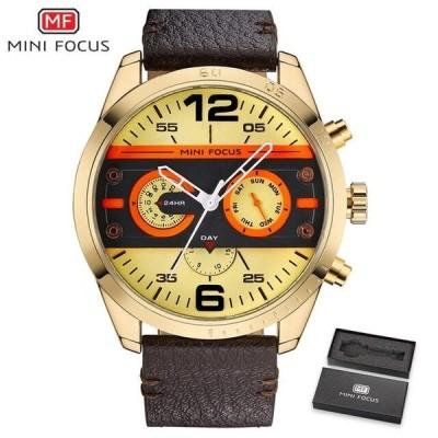 MINIFOCUS高級ブランドメンズ腕時計レザーストラップクォーツ腕時計メンズ防水スポーツ時計メンズ腕時計男性時計ブラック Gold