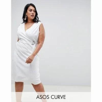 エイソス ワンピース ASOS DESIGN Curve Stripe wrap dress with d ring detail Multi