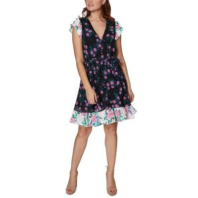 ベッツィジョンソン ワンピース トップス レディース Mixed-Print Puff-Sleeve Dress Black Multi