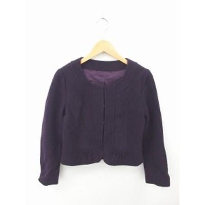 【中古】リフレクト Reflect ジャケット アウター ノーカラー スプリングホック ウール 長袖 11 紫 パープル /TT37