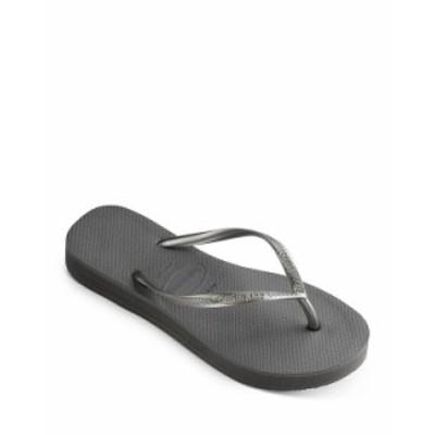 ハワイアナス レディース サンダル シューズ Women's Slim Flatform Thong Sandals Steel Gray