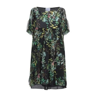 FLOOR ミニワンピース&ドレス ブラック S コットン 100% ミニワンピース&ドレス