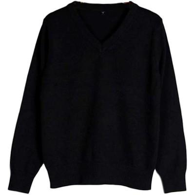 [SCGEHA] セーター Vネック 長袖 無地 スクールセーター 女子 高校生 学生 制服 男女兼用 オフィス 綿(ブラック/L)