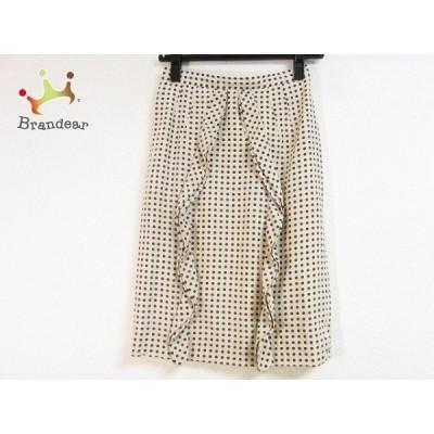 バレンチノ スカート サイズ4 XL レディース 美品 - ベージュ×ダークグレー ひざ丈/ドット柄 新着 20201228
