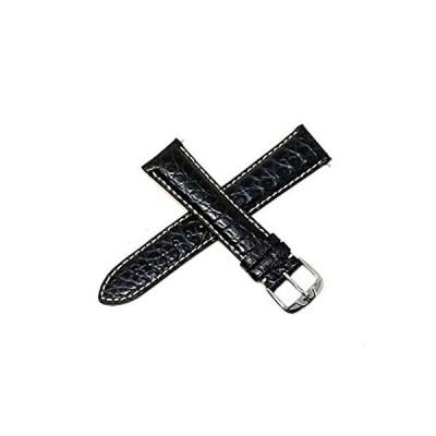 Jacques Lemans 21mm ブラック 本革 ワニ革 腕時計ベルト ベルト シルバー JL ステンレススチール バックル