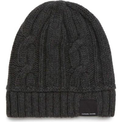 カナダグース CANADA GOOSE メンズ ニット 帽子 Cabled Merino Wool Toque Beanie Iron Grey